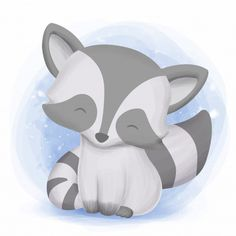 Come on little cute raccoon Premium Vect. Baby Animal Drawings, Cute Drawings, Horse Drawings, Raccoon Drawing, Baby Animal Videos, Cute Raccoon, Baby Raccoon, Animal Doodles, Cute Baby Animals