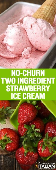 No-Churn 2-Ingredient Strawberry Ice Cream is thick, creamy and amazingly delicious. It is a blissful ice cream speckled with fresh strawberries and it's so good you may never get store bought again! This simple recipe comes together in a flash and is sure to be your go-to summer ice cream recipe.