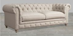Beige Linen Sofa Button Tufted