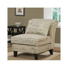 Accent chair, stylish tan linen, luxury upholstered, comfortable, cozy, French script fabric, living room, bedroom, study, library, den, real wood legs, a statement piece, romantic, furniture, décor, accent pillow Eziba http://www.amazon.com/dp/B008BM9CUS/ref=cm_sw_r_pi_dp_x-yuub1W4SEZ6
