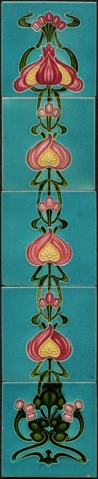 Set of antique art nouveau tile panels