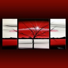 Custom commission Red white abstract landscape painting 36x48