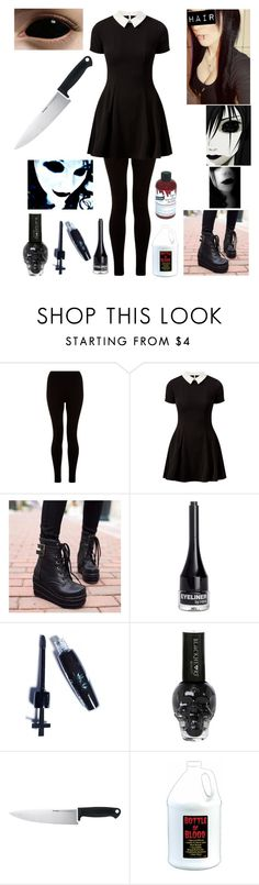 """Jane the Killer inspired costume (Halloween style #14)"" by katlanacross ❤ liked on Polyvore featuring Cameo Rose, JY Shoes, H&M, Manic Panic, Kershaw, Graftobian, Halloween, creepypasta and Janethekiller"