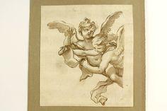 Engel / Putten mit Schriftrolle Altmeisterzeichnung Bütten Tinte laviert um 1650 in Antiquitäten & Kunst, Malerei, Gemälde 1700-1799   eBay