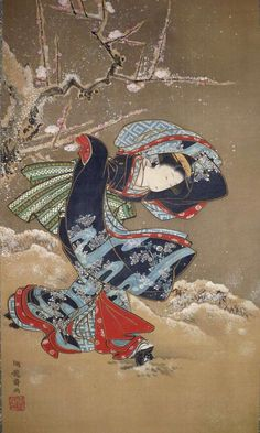 Japan, hanging scroll by Isoda Koryusai , (Japanese, 1735-1790), Beauty in Winter
