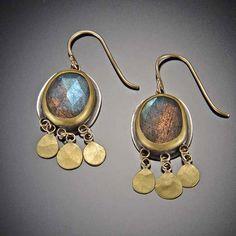 Labradorite Earrings with 22k Gold Disks | Ananda Khalsa Jewelry