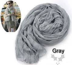 8.15$  Watch now - http://viond.justgood.pw/vig/item.php?t=o7ew3141852 - Women's Long Crinkle Scarf Wraps Soft Shawl Stole Gray 8.15$