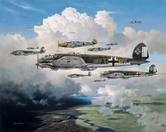 Out for Trouble by Heinz Krebs  Heinkel He-111 medium range bombers of KG53 Legion Condor cross the Channel coast. The yellow-nosed Messersc...