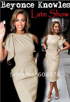 ED235 Beyonce Knowles Mid-calf length Late show celebrity dresses....in white with more of a sleeve.