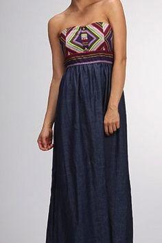 Denim Aztec Maxi Dress
