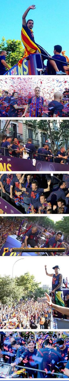 Champions' Parade 7 June 2015 -  From the top: Xavi, Ter Stegen, several including Messi and Suarez, Luis Enrique, Mascherano and Suarez with 3 cups, Neymar, Messi