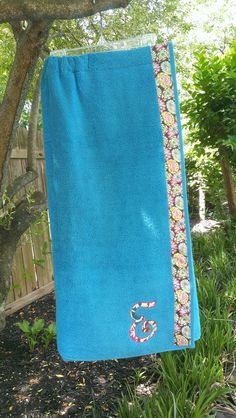 Bridesmaid gifts - Bright Turquoise  Spa Towel Wrap with SNAPS by CamelaSkyDesigns