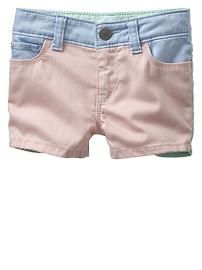 Contrast denim shorties