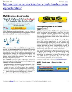 mlm-business-opportunitiesnew-16846924 by retrofaz via Slideshare