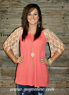 Thinking Out Loud Coral Top with Peach Lace Sleeves www.gugonline.com
