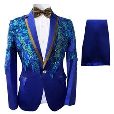 Mens 2 Piece Sequin Slim Fit Dress Suit One Button Floral Dinner Jacket & Pants Slim Fit Dresses, Stylish Dresses, Nice Dresses, Banquet, Gents Wear, Blazer Shirt, Blue Party Dress, Dinner Jacket, Tuxedo Jacket