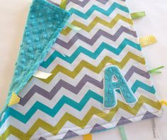 Personalized Taggie Blanket - Baby Tag Lovey Security Sensory Ribbon Stroller Travel Minky - Chevron Teal Minky - White Gray Lagoon Teal on Etsy, $16.00
