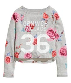 H&M L.O.G.G. Girls roses allover print college number