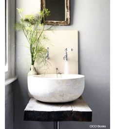 Small Bathroom Ideas // unique idea for a small bathroom or powder room. Loving the vessel sink with wall mounted faucets. The antique mirror and rustic wood countertop add so much character // Bad Inspiration, Bathroom Inspiration, Interior Inspiration, Tadelakt, Cool Ideas, Amazing Ideas, Awesome, Creative Ideas, Rustic Chic