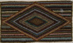 Hand Hooked Rug Early Style Primitive Hit and Miss Diamond Rug | eBay sold 159.50