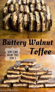 Buttery Walnut Toffee. Layers of chocolate and a nutty, caramel scented crunchy toffee. Only six ingredients! Sugar Free, Low Carb, THM S.