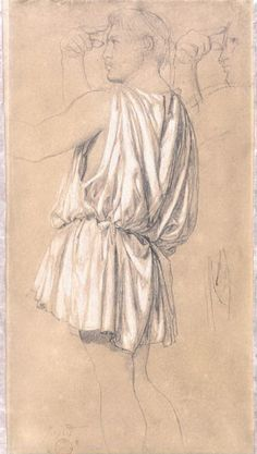 Jean Auguste Dominique Ingres,  Study for the figure of Phidias in 'The Apotheosis of Homer': graphite and bodycolour on buff paper: height, 398, mm width, 213, mm