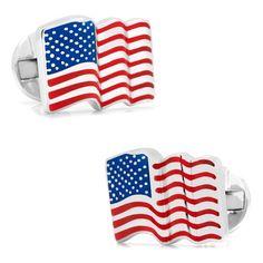 Sterling Silver Waving American Flag Cufflinks - DaVinci Emporium