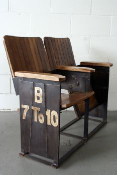 Two Seat Theatre Bench- I'd love to have vintage theatre seats in my dream home! Industrial Living, Industrial Interiors, Industrial Chic, Industrial Furniture, Vintage Industrial, Style Deco, Theater Seating, Take A Seat, Decoration