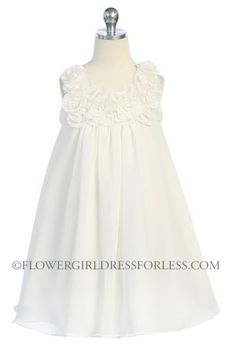 Girls Dress Style 611- IVORY- Sleeveless Chiffon Floral Babydoll Dress size 6 months-12