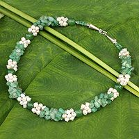 Cultured pearl and dyed green quartz beaded necklace, 'Divine Feminine' by NOVICA