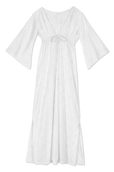 LONG BRODERIE ANGLAISE DRESS WITH BELL SLEEVES