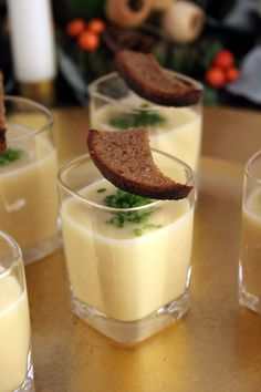 Potato and blue cheese soup shots with garlic butter ryes