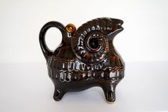 Vintage Whiskey decanter Wine vessel flask pitcher Ram figurine Gift for him Barware Black and brown pottery jug Collectible by Retronom on Etsy