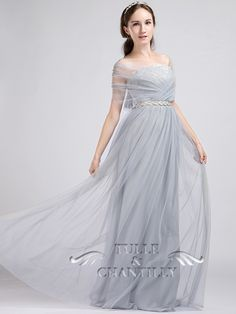 Elegant Long Multi-wear Convertible Grey Tulle and Lace Dress