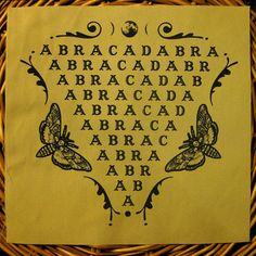 Abracadabra. Handmade, screen printed BACK PATCH. Black on Tan.
