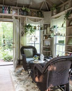 This unique potting shed doubles as the perfect spot for tea with a friend to en. - This unique potting shed doubles as the perfect spot for tea with a friend to enjoy the fruits of y - Shed Conversion Ideas, Garden Shed Interiors, Cabana, Garden Tool Shed, Garden Sheds, Cedar Garden, Home And Garden Store, She Sheds, Potting Sheds