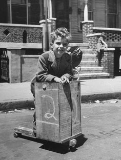 Back in the days, boys use to build these kind of scooters with a wooden milk crate and old roller skates.
