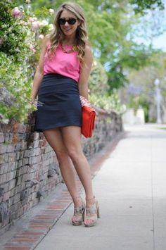 pink top + grey pencil skirt
