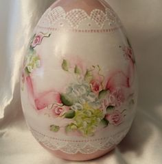 """Hand Painted Egg Ceramic 6"""" Easter Shabby Spring Pink Rose Lace Chic HP"""