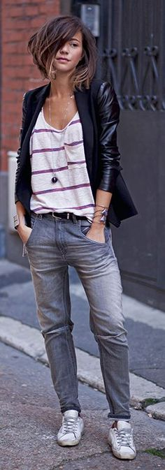 Loose fitting top with skinny jeans and a jacket. Love it.