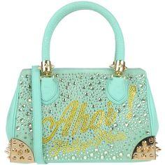 Philipp Plein Handbag (£850) ❤ liked on Polyvore featuring bags, handbags, light green, man satchel bag, handbag purse, hand bags, mini handbags and green satchel