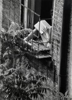 Greenwich Village, New York (woman reading in fire-escape window), 1963 (Photo by Andre Kertesz) Andre Kertesz, Greenwich Village, People Reading, Woman Reading, Reading Time, Reading Books, Good Books, Books To Read, Book Lovers