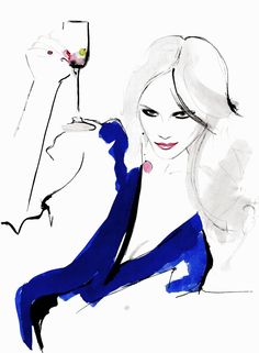 """Divine Afternoon"" inspiration: Natasha Poly for VOGUE Russia August 2012. Fashion illustration by Kornelia Debosz"