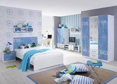 Jugendzimmer 3-tlg. in Alpinweiß m. Absetzungen in Blau, Kleiderschrank B: ca. 136 cm, Bett Liegefläche 120 x 200 cm, Nachttisch B: ca. 50 cm