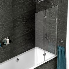 Kudos Inspire Two Panel Infold Shower Screen Right hand toughened glass Highly polished silver frame Lifetime guarantee wallpost adjustment Lifeshield glass protection Unique click-to-lock hinge mechanism Also available left hand* Bath Shower Screens, Bathroom Tub Shower, Shower Taps, Bath Taps, Tub Shower Combo, Attic Shower, Square Bath, Grey Baths, Shower Fittings