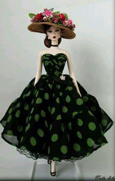 Pretty Green polka Dot on black dress for Silkstone BArbie Doll