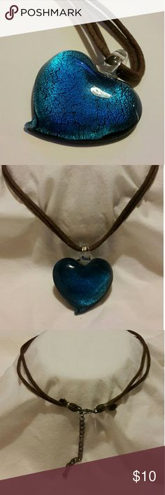 "Glass heart necklace 18"" glass heart necklace choker or longer Jewelry Necklaces"