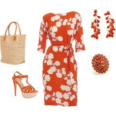 Dark Orange dress ensemble, created by violetfemme-71 on Polyvore