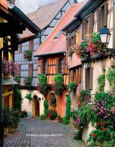 ...Pittoresco villaggio dell' Alsazia, Francia, nella stagione estiva...!!