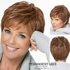 Natural straight short pixie cut hairstyle Blonde Wig side bangs Synthetic hair wigs for Women discount wigs pelucas pelo corto Natural Straight Hair, Short Thin Hair, Short Hair Older Women, Short Hair Wigs, Haircut For Thick Hair, Short Hair With Layers, Short Pixie, Pixie Cut, Mom Hairstyles